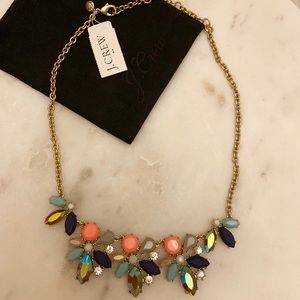 NWT JCrew coral, blue, crystals necklace